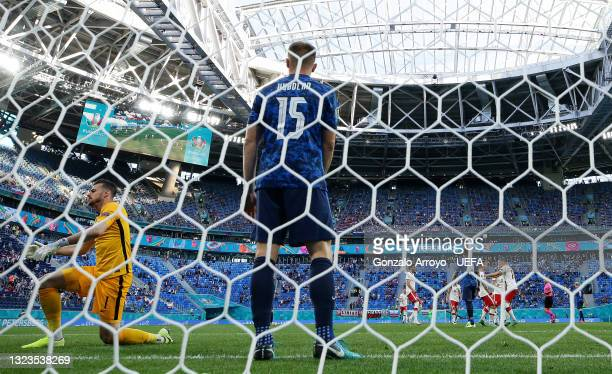 Martin Dubravka of Slovakia looks dejected after Poland's first goal scored by Karol Linetty during the UEFA Euro 2020 Championship Group E match...