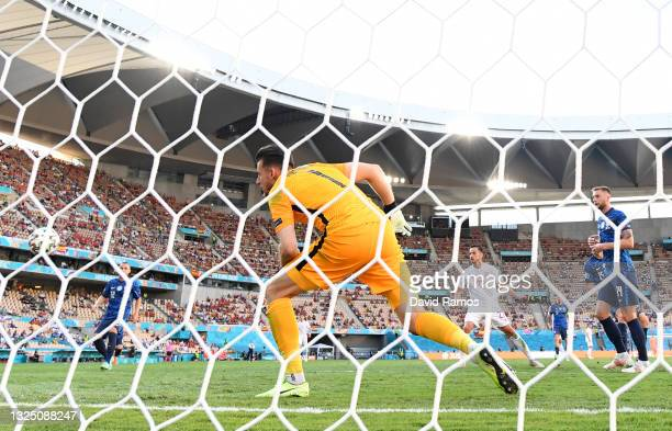 Martin Dubravka of Slovakia looks on as Pablo Sarabia of Spain scores their side's third goal during the UEFA Euro 2020 Championship Group E match...