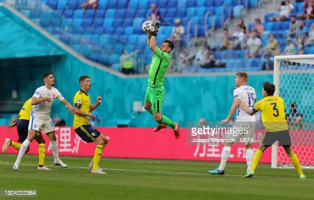 Martin Dubravka of Slovakia makes a save during the UEFA Euro 2020 Championship Group E match between Sweden and Slovakia at Saint Petersburg Stadium...