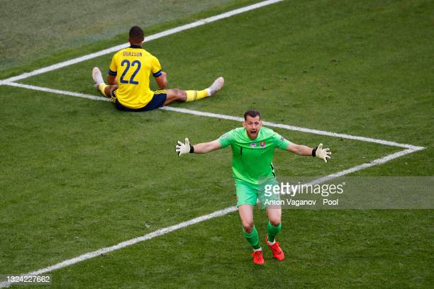 Martin Dubravka of Slovakia reacts as a penalty is awarded to Sweden during the UEFA Euro 2020 Championship Group E match between Sweden and Slovakia...