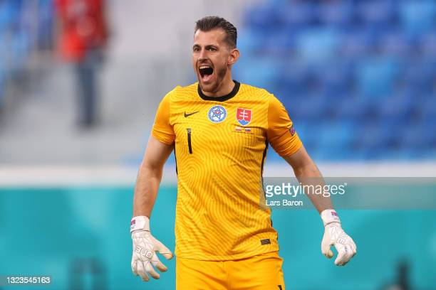 Martin Dubravka of Slovakia reacts during the UEFA Euro 2020 Championship Group E match between Poland and Slovakia at the Saint Petersburg Stadium...