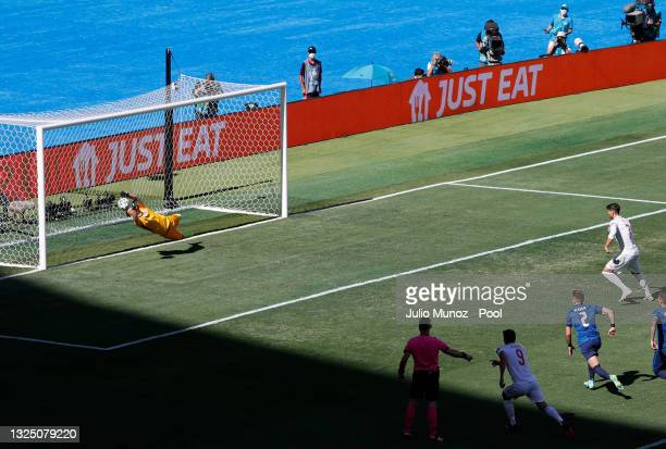 Martin Dubravka of Slovakia saves a penalty from Alvaro Morata of Spain during the UEFA Euro 2020 Championship Group E match between Slovakia and...
