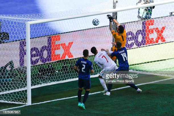Martin Dubravka of Slovakia scores an own goal during the UEFA Euro 2020 Championship Group E match between Slovakia and Spain at Estadio La Cartuja...