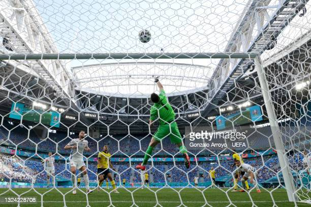 Martin Dubravka of Slovakia sees a header go over from Alexander Isak of Sweden during the UEFA Euro 2020 Championship Group E match between Sweden...
