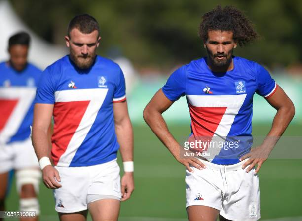 Martin Dulon and Erwan Dridi of France react after losing a match between Argentina and France on day 9 of Buenos Aires 2018 youth Olympic Games at...