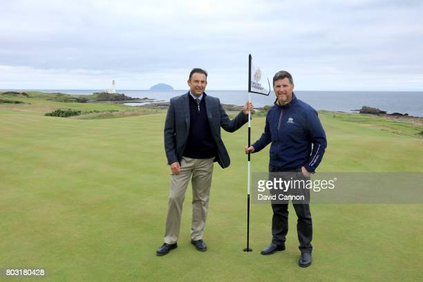 Martin Ebert of Mackenzie and Ebert the golf course architect poses for a photograph with Allan Patterson the head green keeper at Trump Turnberry on...