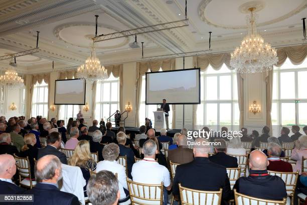Martin Ebert of Mackenzie and Ebert the golf course architect speaks during his presentation in the Grand Ballroom during the official opening of the...