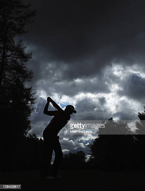 Martin Edge of Hesketh Golf Club tees off on the 18th hole during the final day of the Skins PGA Fourball Championships at Forest Pines Hotel and...