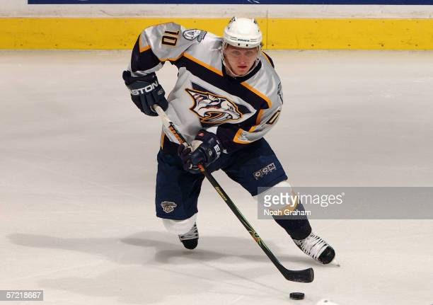Martin Erat of the Nashville Predators skates the puck across center ice against the Los Angeles Kings during their game on March 25, 2006 at the...