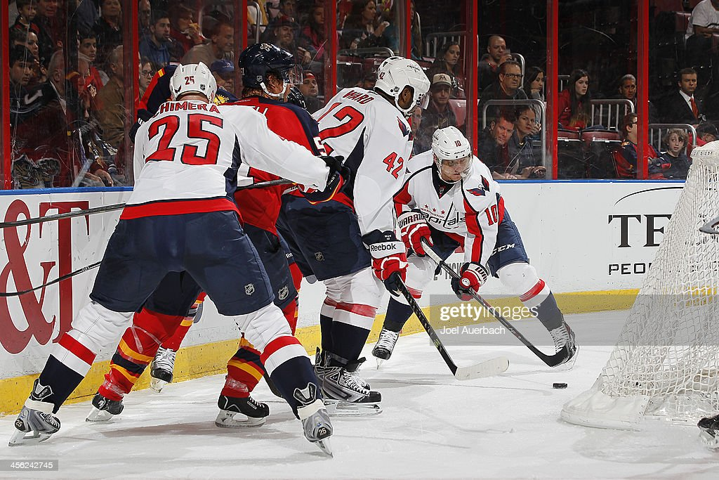 Martin Erat #10 of the Washington Capitals controls the puck behind the Florida Panthers net at the BB&T Center on December 13, 2013 in Sunrise, Florida. The Panthers defeated the Capitals 3-2 in a shootout.