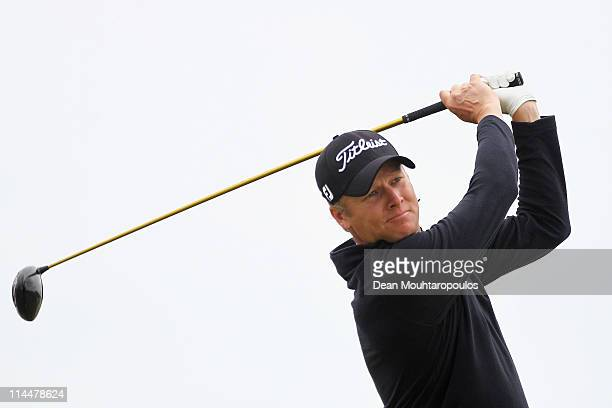 Martin Erlandsson of Sweden hits his tee shot on the 1st hole during day three of the Madeira Islands Open on May 21 2011 in Porto Santo Island...