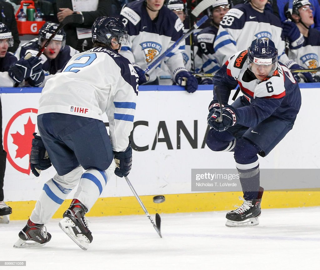Martin Fehérváry #6 of Slovakia shoots the puck past Miro Heiskanen #2 of Finland during the third period of play in the IIHF World Junior Championships at the KeyBank Center on December 30, 2017 in Buffalo, New York.