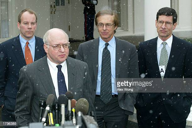 Martin Feldstein Professor of Harvard University and President of National Bureau of Economic Research speaks to the news media as Brian Wesbury...