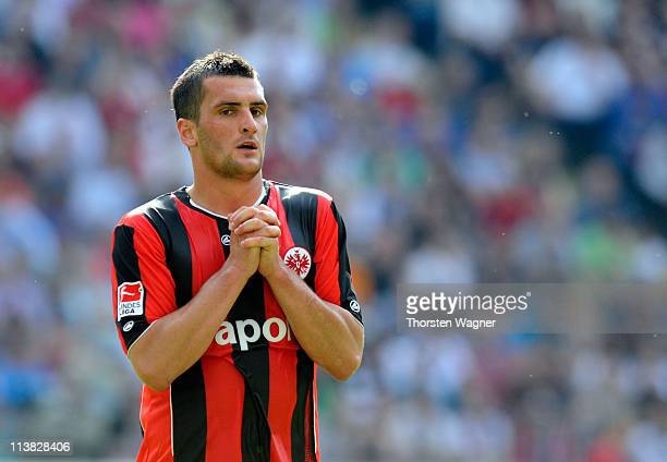 Martin Fenin of Frankfurt gestures during the Bundesliga match between Eintracht Frankfurt and 1FC Koeln at Commerzbank Arena on May 7 2011 in...