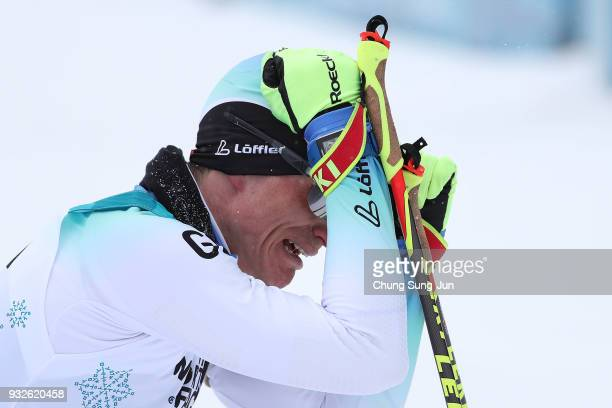 Martin Fleig of Germany celebrates after winning the Biathlon Men's 15km Sitting during day seven of the PyeongChang 2018 Paralympic Games on March...