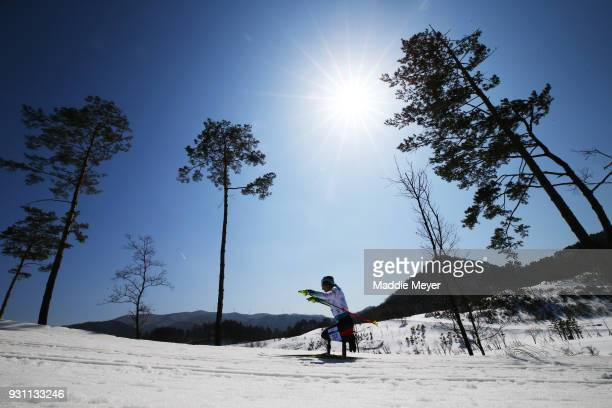 Martin Fleig of Germany in action during the Men's Biathlon 125km Sitting on day four of the PyeongChang 2018 Paralympic Games on March 13 2018 in...