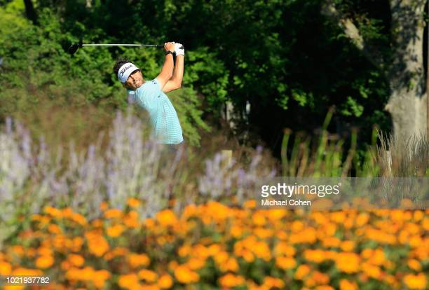 Martin Flores hits his drive on the 15th hole during the first round of the Nationwide Children's Hospital Championship held at The Ohio State...