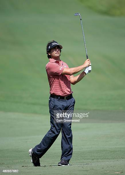 Martin Flores of the United States plays a shot on the 14th hole during the first round of the Barbasol Championship at the Robert Trent Jones Golf...