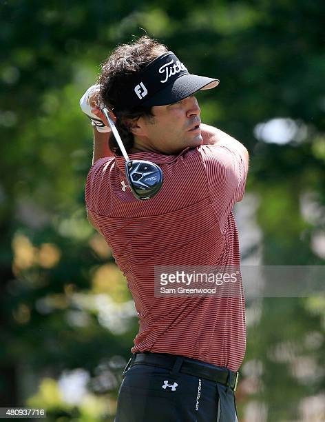 Martin Flores of the United States plays a shot on the 15th hole during the first round of the Barbasol Championship at the Robert Trent Jones Golf...