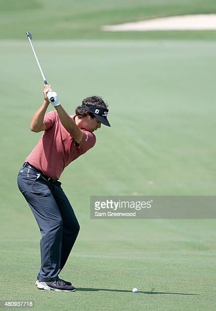 Martin Flores of the United States plays a shot on the 16th hole during the first round of the Barbasol Championship at the Robert Trent Jones Golf...