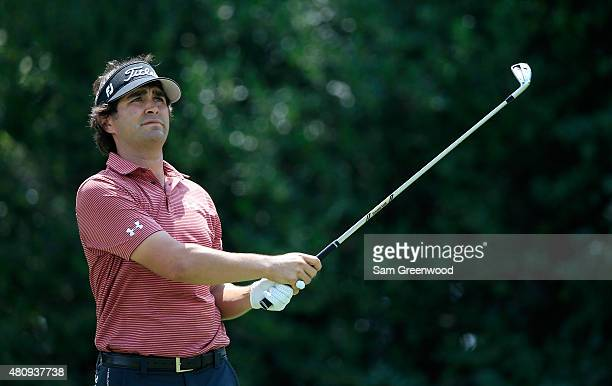 Martin Flores of the United States plays a shot on the 17th hole during the first round of the Barbasol Championship at the Robert Trent Jones Golf...