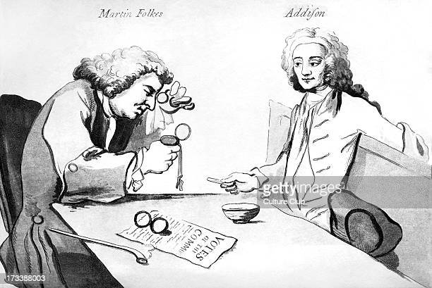 Martin Folkes and Addison in Button's coffee house by William Hogarth Title 'Characters who frequented Button's coffee house about the year 1720'...