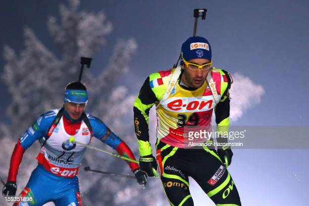 Martin Fouracde of France competes in the men's 10km sprint event during the IBU Biathlon World Cup at Chiemgau Arena on January 12, 2013 in...