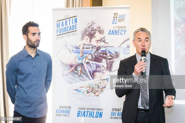 Martin Fourcade and Annecy Mayor JeanLuc Rigaut speak during the Nordic Festival Press Conference at Imperial Hotel on April 29 2019 in Annecy France
