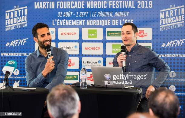 Martin Fourcade and CoEvent Promoter Alexis Boeuf speak during the Nordic Festival Press Conference at Imperial Hotel on April 29 2019 in Annecy...