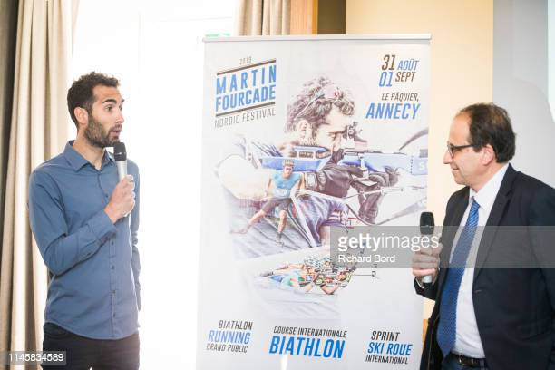Martin Fourcade and Le Grand Bornand Mayor Andre PerrillatAmede speak during the Nordic Festival Press Conference at Imperial Hotel on April 29 2019...