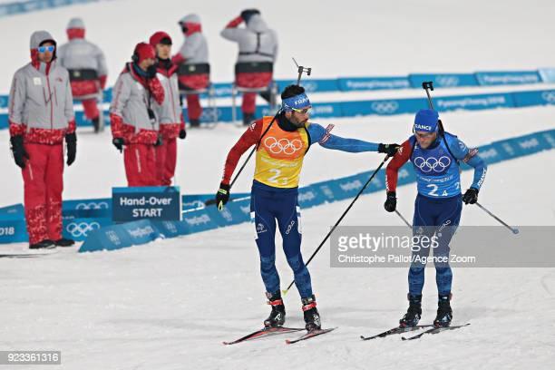 Martin Fourcade of France Antonin Guigonnat of France in action during the Biathlon Men's Relay at Alpensia Biathlon Centre on February 23 2018 in...
