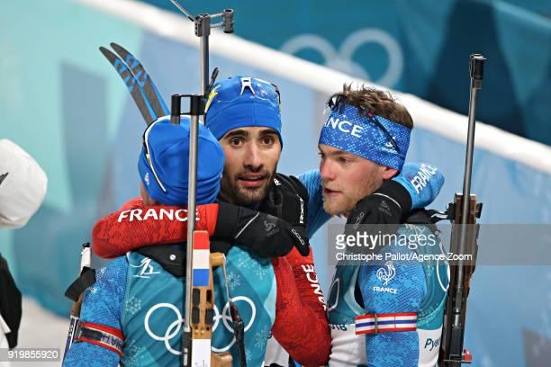 Martin Fourcade of France Antonin Guigonnat of France Simon Desthieux of France celebrate during the Biathlon Men's 15km Mass Start at Alpensia...