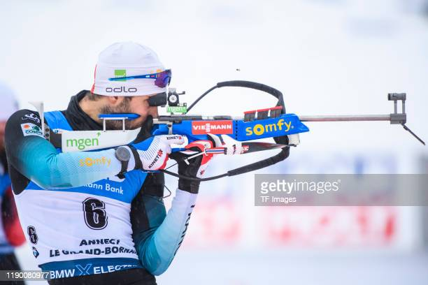 Martin Fourcade of France at the shooting range during the Men 15 km Mass Start Competition at the BMW IBU World Cup Biathlon Le Grand Bornand at on...
