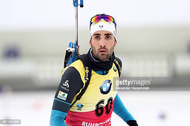 Martin Fourcade of France at the zeoring for the 10 km Men's Sprint during the IBU Biathlon World Cup at Chiemgau Arena on January 13 2017 in...