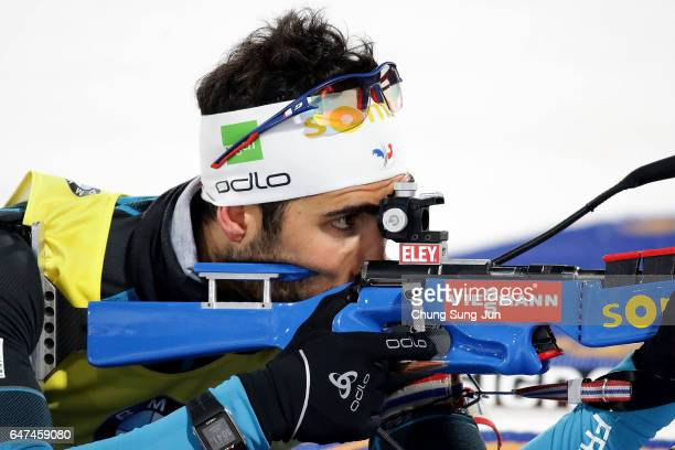 Martin Fourcade of France at the zeroing for the Men 10km Sprint during the BMW IBU World Cup Biathlon 2017 test event for PyeongChang 2018 Winter...