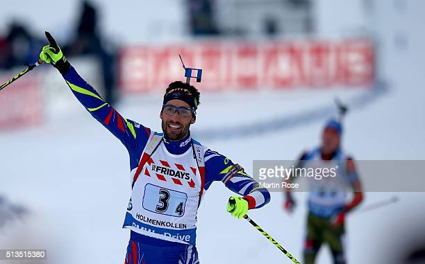 Martin Fourcade of France celebrate winning the gold medal during the IBU Biathlon World Championships Mixed Relay at Holmenkollen on March 3 2016 in...