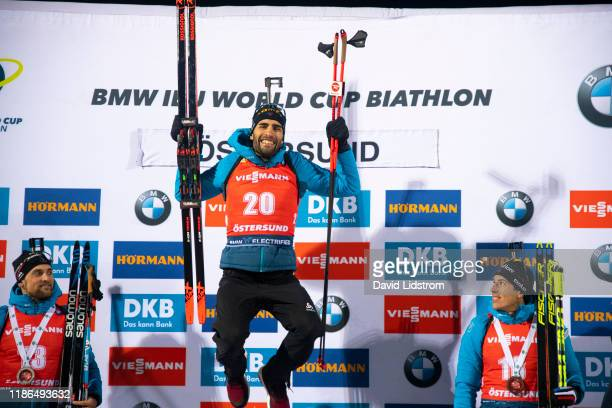 Martin Fourcade of France celebrates after the Mens 20 km Individual Competition at the BMW IBU World Cup Biathlon Oestersund at Swedish National...