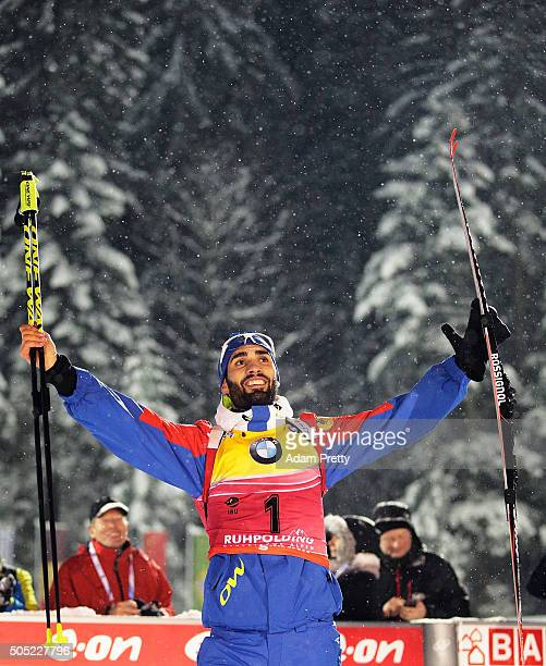 Martin Fourcade of France celebrates second place after the Men's 15km Biathlon race of the Ruhpolding IBU Biathlon World Cup on January 16 2016 in...