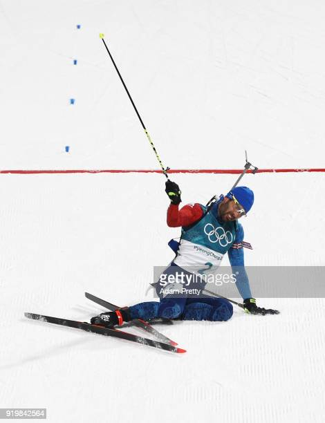Martin Fourcade of France celebrates winning the gold medal during the Men's 15km Mass Start Biathlon on day nine of the PyeongChang 2018 Winter...