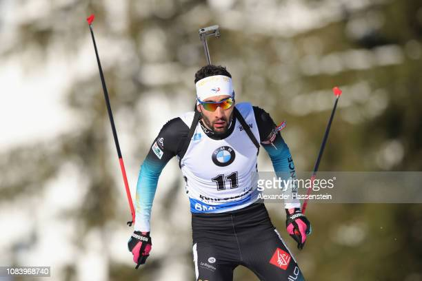 Martin Fourcade of France competes at the 10 km Men's Sprint during the IBU Biathlon World Cup at Chiemgau Arena on January 17 2019 in Ruhpolding...