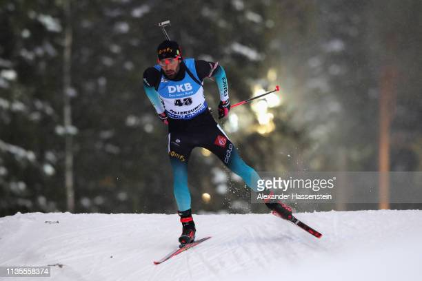 Martin Fourcade of France competes at the IBU Biathlon World Championships Men 120km at Swedish National Biathlon Arena on March 13 2019 in Ostersund...