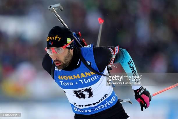 Martin Fourcade of France competes at the IBU Biathlon World Championships Men 10km Sprint at Swedish National Biathlon Arena on March 09 2019 in...