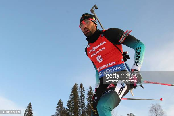 Martin Fourcade of France competes at the IBU Biathlon World Championships Men's Pursuit at Swedish National Biathlon Arena on March 10 2019 in...