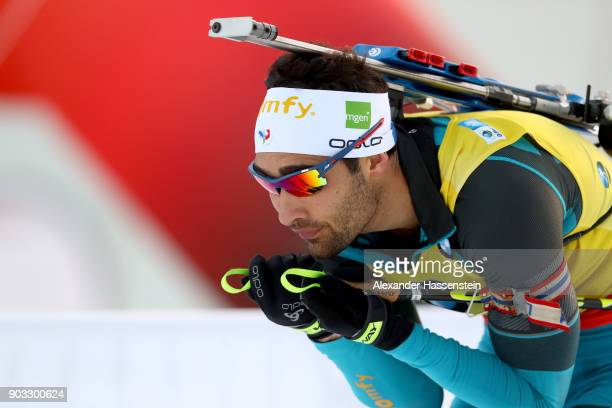 Martin Fourcade of France competes at the men's 20km individual competition during the IBU Biathlon World Cup at Chiemgau Arenaon January 10, 2018 in...