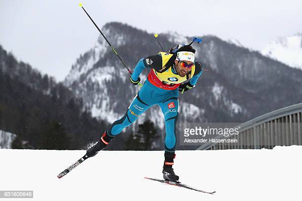 Martin Fourcade of France competes during the 10 km Men's Sprint during the IBU Biathlon World Cup at Chiemgau Arena on January 13, 2017 in...