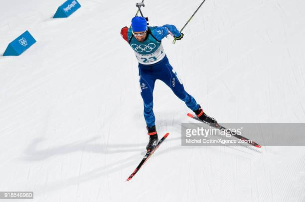 Martin Fourcade of France competes during the Biathlon Men's 20km Individual at Alpensia Biathlon Centre on February 15 2018 in Pyeongchanggun South...