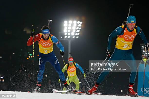 Martin Fourcade of France competes during the Biathlon Men's Relay at Alpensia Biathlon Centre on February 23 2018 in Pyeongchanggun South Korea