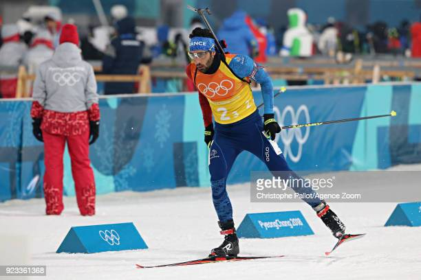 Martin Fourcade of France competes during the Biathlon Men's Relay at Alpensia Biathlon Centre on February 23, 2018 in Pyeongchang-gun, South Korea.