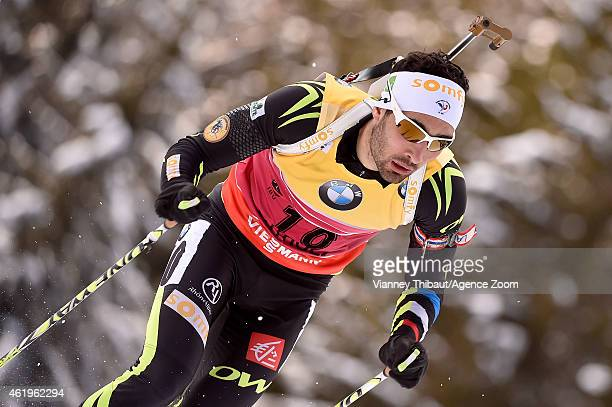 Martin Fourcade of France competes during the IBU Biathlon World Cup Men's Sprint on January 22 2015 in AntholzAnterselva Italy