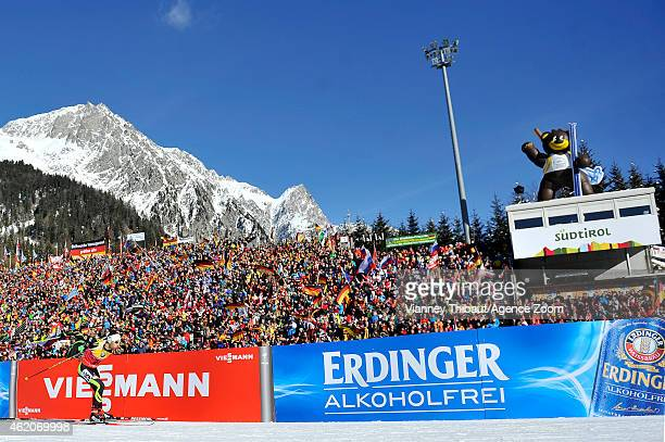 Martin Fourcade of France competes during the IBU Biathlon World Cup Men's and Women's Pursuit on January 24 2015 in AntholzAnterselva Italy